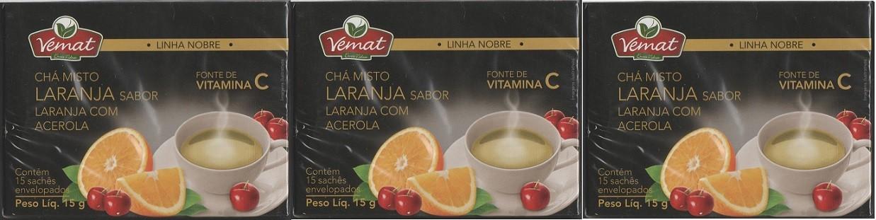 Cha Misto Laranja Acerola Rico Em Vitamina C 15 Saches 3 cx