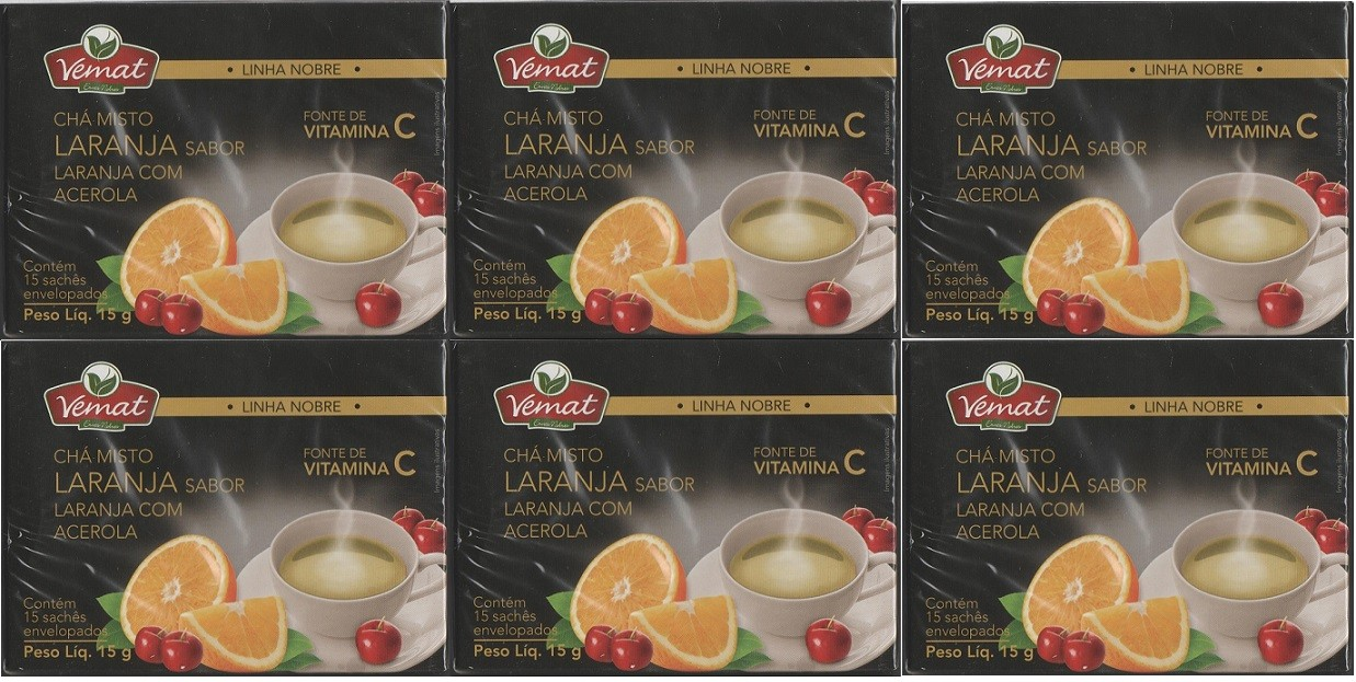 Cha Misto Laranja Acerola Rico Em Vitamina C 15 Saches 6 cx