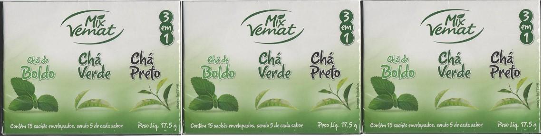 Cha Mix Boldo Chá Verde Chá Preto 15 Saches  Vemat 3 Caixas