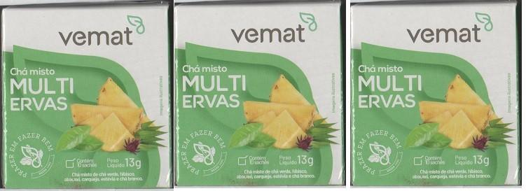 Cha Multi Ervas Cha Verde,Branco,Hibisco 10 Sache Vemat 3 Cx