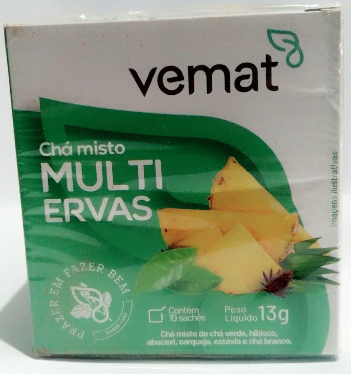 Cha Multi Ervas Cha Verde,Branco,Hibisco 10 Saches 10g Vemat