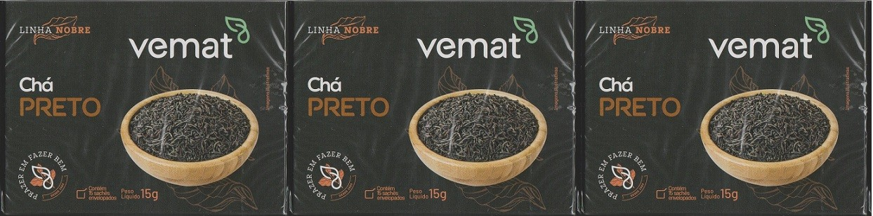 Cha Preto Vemat 15 Saches 3 caixas