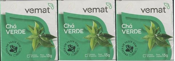 Cha Verde 10 Saches 10g Vemat 3 Caixas