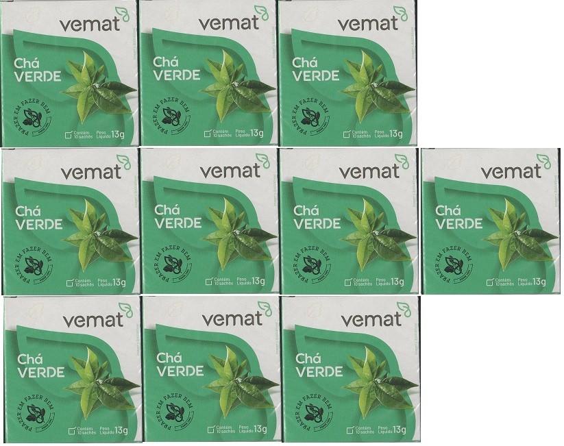 Cha Verde 10 Saches 13g Vemat 10 Caixas