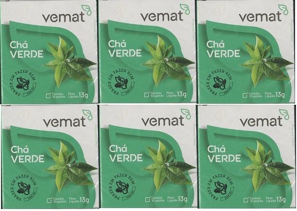 Cha Verde 10 Saches 13g Vemat 6 Caixas