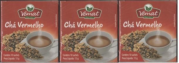 Cha Vermelho Chá Preto Hibisco Casca De Canela10 Saches 3 Cx