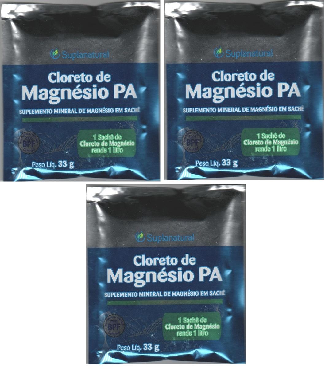 Cloreto Magnesio  P.A (Puro) 33g 3unidades