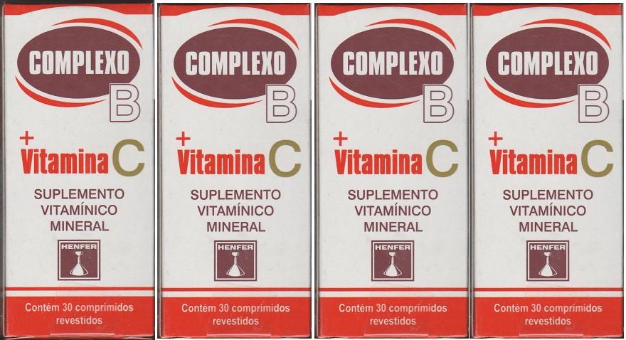 Complexo B+ Vitamina C Com 30 Drageas 4 unidades