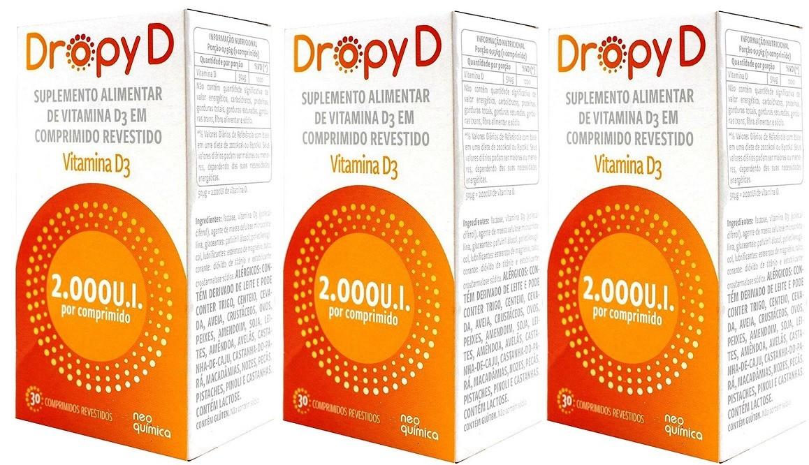 Dropy D  Vitamina D 2.000 UI 30 Cprs Revestido 3 Unidades