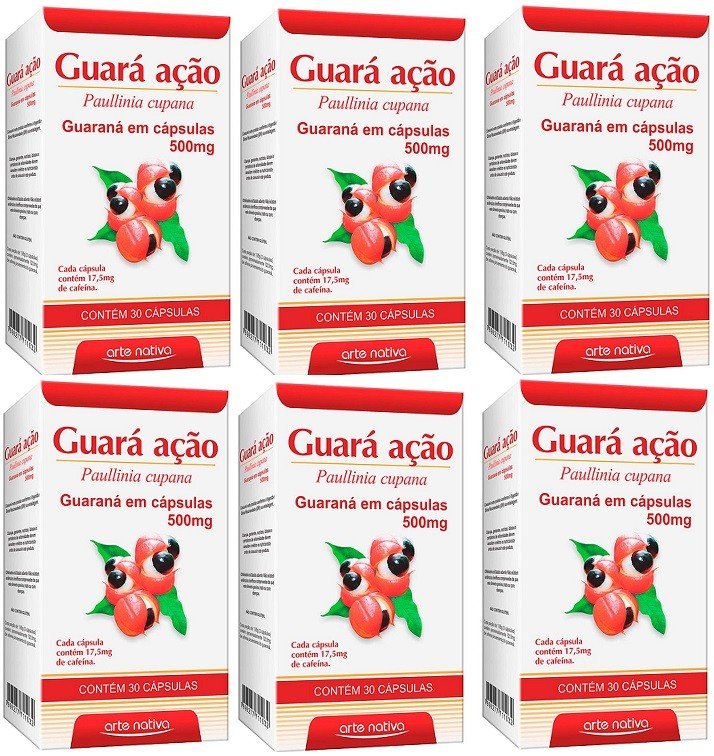 Guaraná Energia Guara Acao 500mg 30 Caps 6 unidades