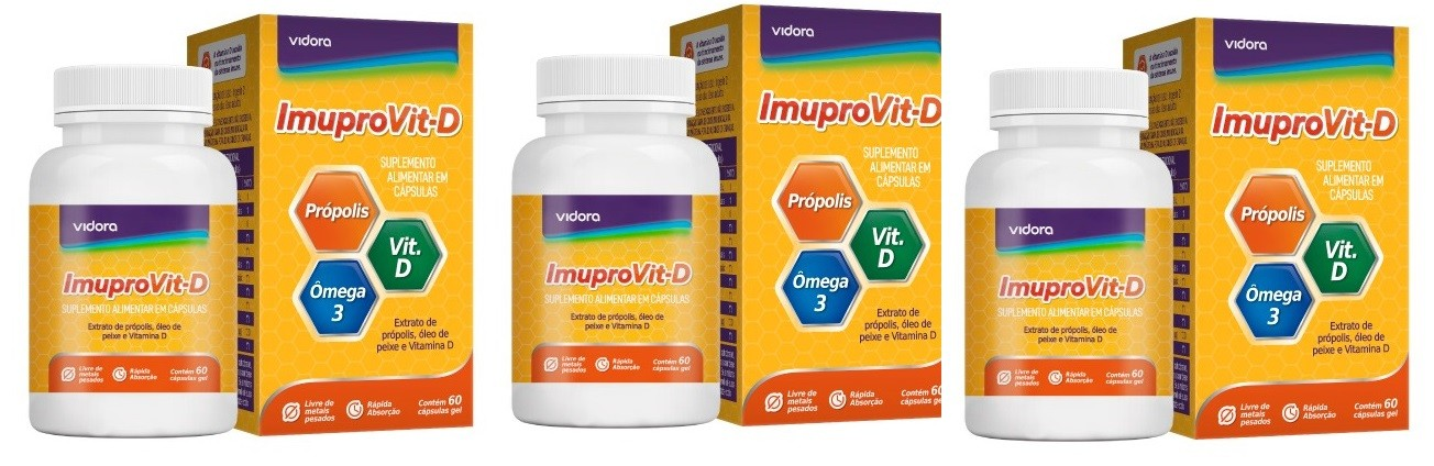 Imuprovit D Própolis Ômega 3 E Vitamina D 60 Caps Gel 3uni