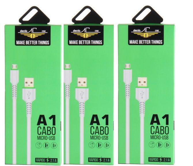 KIT 3 x 1CABO MICRO USB DADOS/CARREGADOR V8 A1