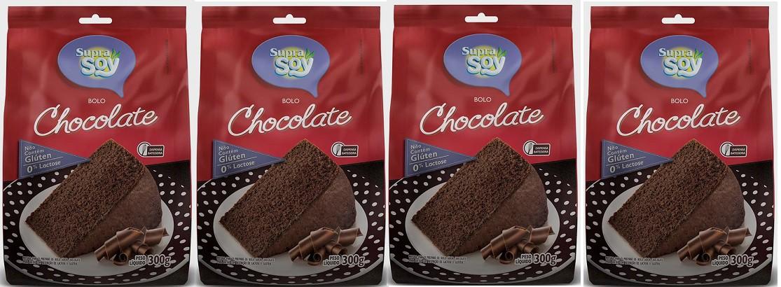 Kit 4 Mistura Para Bolo De Chocolate Supra Soy 300g