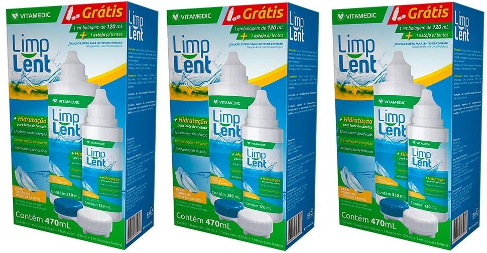 Limp Lent Limpeza Hidratação Lente Contato Kit 470ml 3Uni