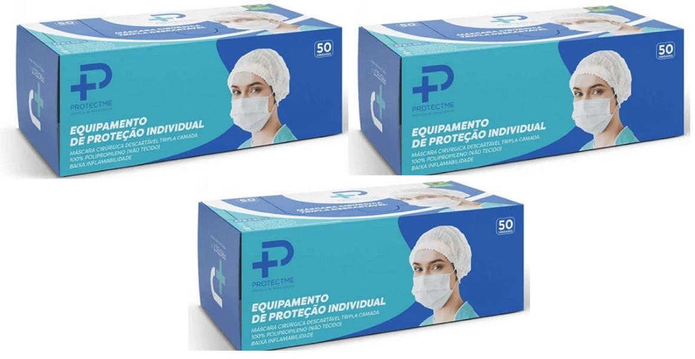 Máscara Cirurgica Tripla Proteção 98% Clipe Nasal 3 Cx 50 Un