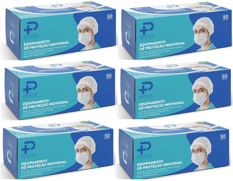 Máscara Cirurgica Tripla Proteção 98% Clipe Nasal 6 Cx 50 Un