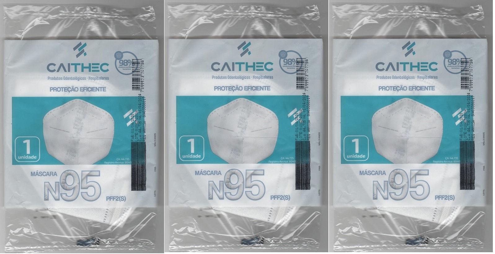 Mascara N95 Pff2 98% Proteção ANVISA/INMETRO/CA 3 unidades