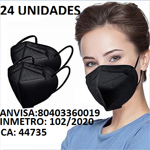 Mascarara Pff2 N95 Anvisa/Inmetro 98% Proteção Preta 24uni