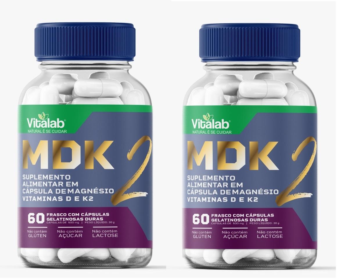 MDK 2 500MG Magnesio Vitamina D, K2  Aux. Prod hormônios 2un