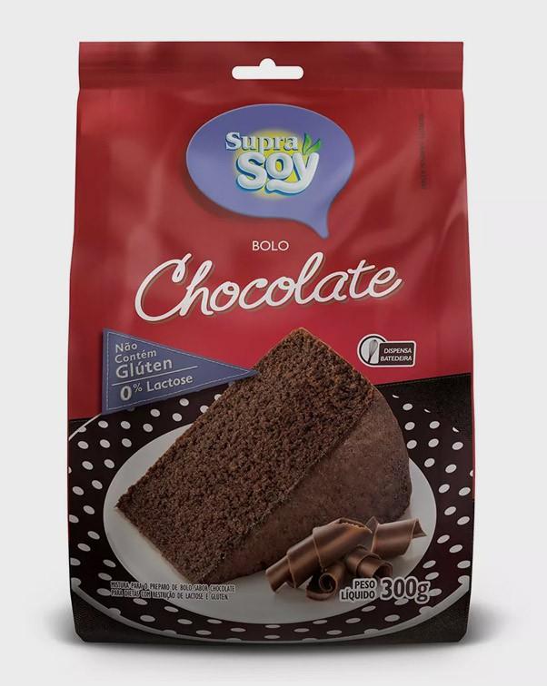 Mistura Para Bolo Chocolate S/Lactose/Gluten 300Gr Supra Soy