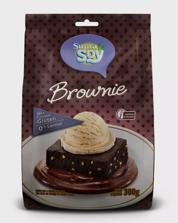 Mistura Para Brownie - S/Lactose/S/Gluten - 300gr - Supra Soy