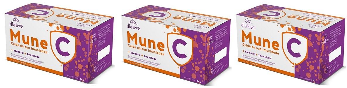 Mune C Vitamina C Cuide da sua imunidade 30 Saches 3 caixas