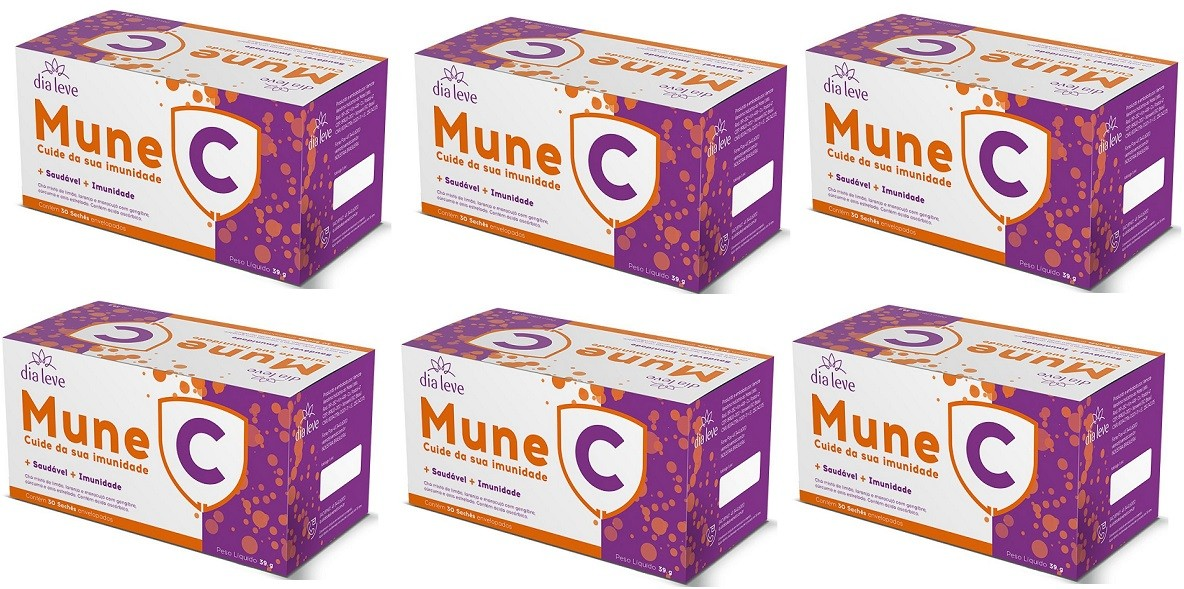 Mune C Vitamina C Cuide da sua imunidade 30 Saches 6 caixas