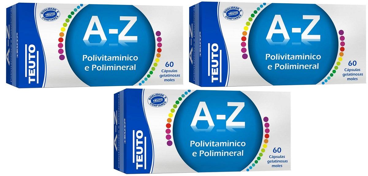 Polivitamínico e Polimineral A-Z 60 CAPS GEL Teuto 3 Unidade