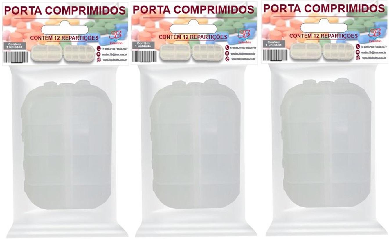 Porta Comprimidos Diário/Semanal 12 Divisórias 3 unidades