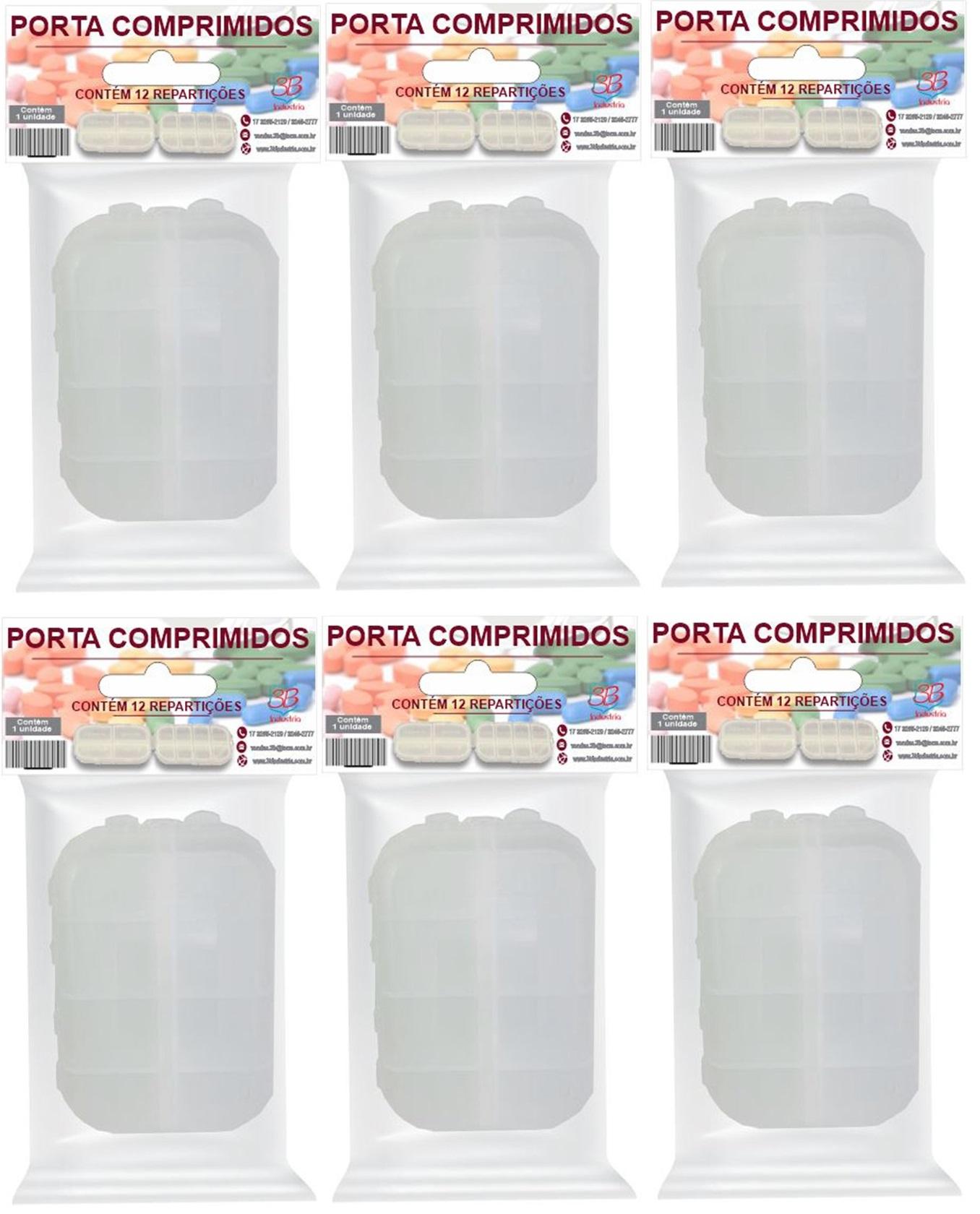 Porta Comprimidos Diário/Semanal 12 Divisórias 6 unidades