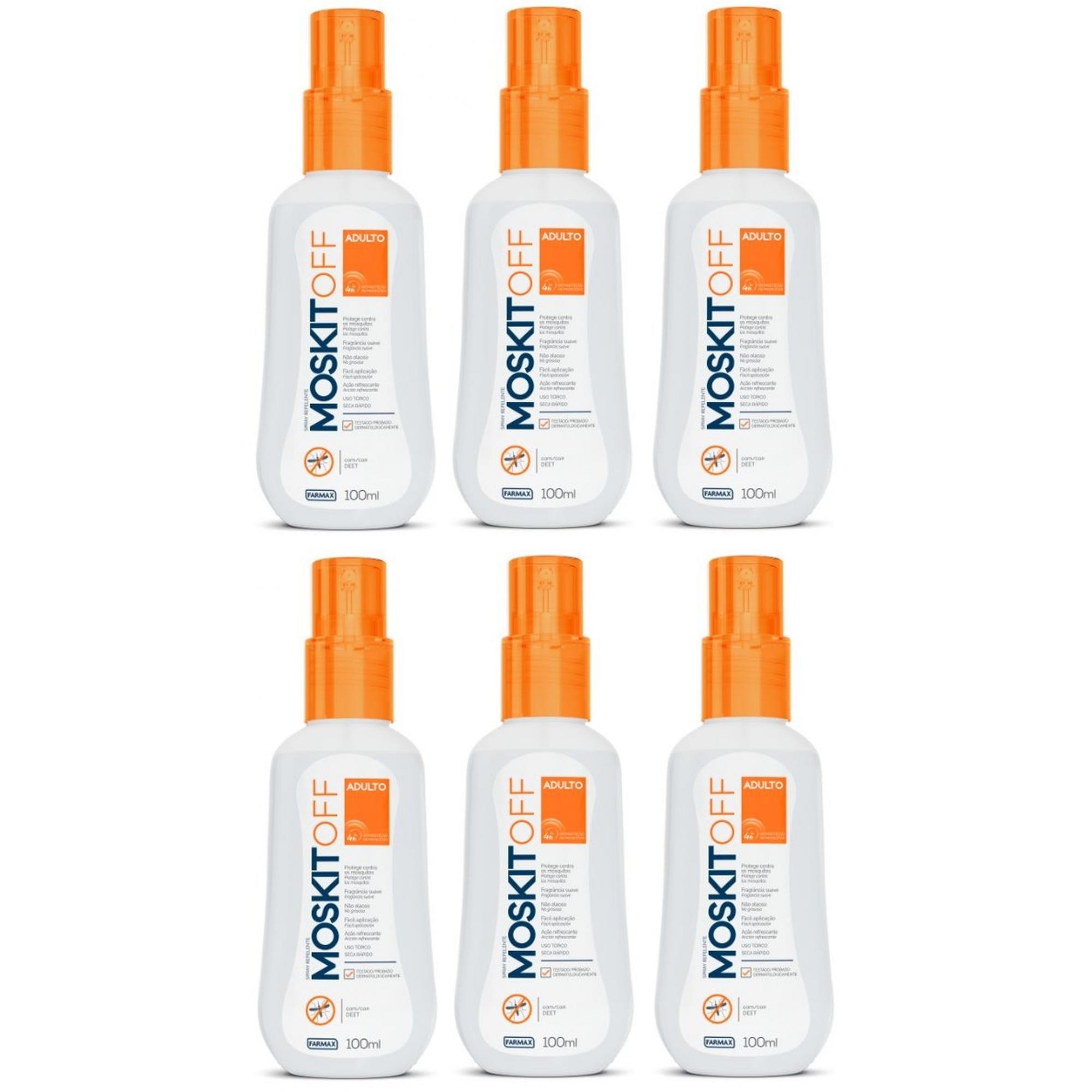 Repelente Moskitoff Oil Free DEET 100ml Spray 6 unidades
