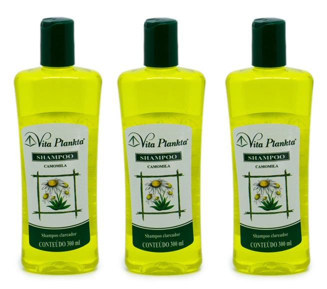 Shampoo Camomila Extrato de Flores Clarear cabelos 300ml 3un