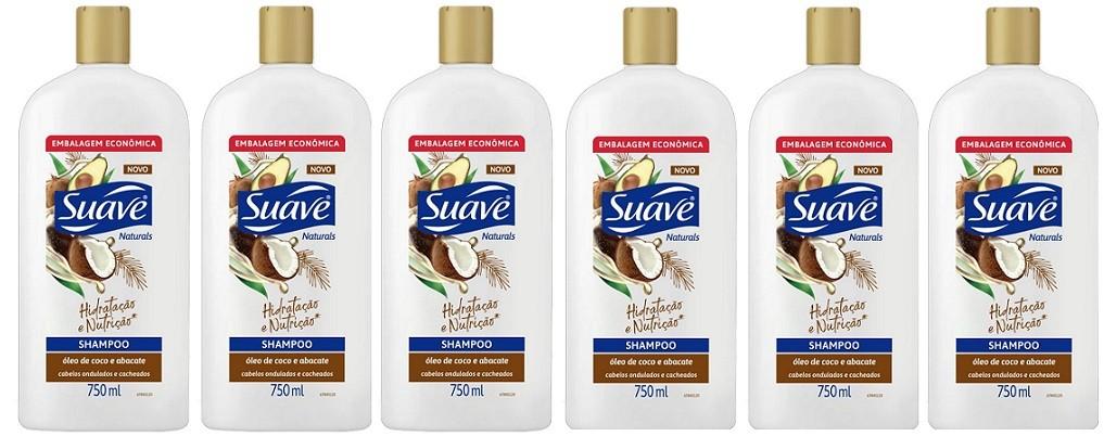 Shampoo Suave Naturals Óleo de Coco e Abacate 750ml 6unidade