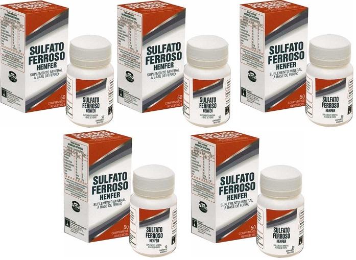 Sulfato Ferroso 200mg (40mg ferro elementar) 50cpr 5 unidade