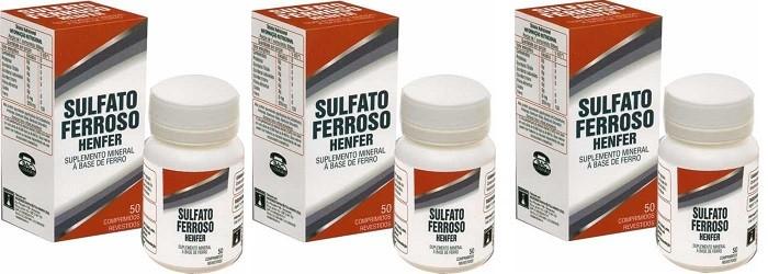 Suplemento Sulfato Ferroso 200mg 50cpr Henfer 3unidades