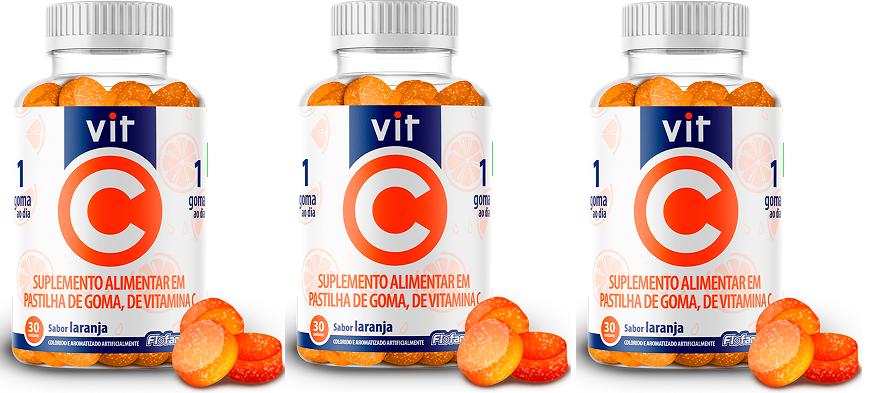 Vit C Vitamina C 100% IDR 30 Gomas Laranja 3 Unidades