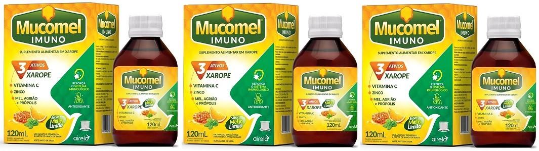 Vitamina C, Mel, Agriao E Propolis Mucomel Imuno120ml 3 Unid