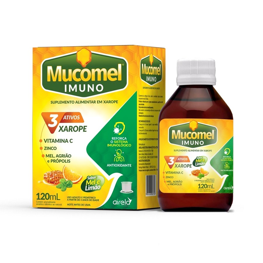Vitamina C, Mel, Agriao E Propolis Mucomel Imuno120ml Xarope