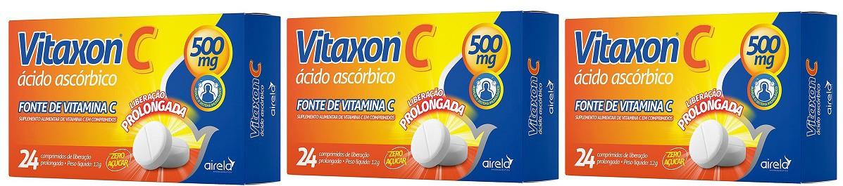 Vitaxon C Vitamina C 500mg 24 Cprs  Ação Prolongada 3 uni