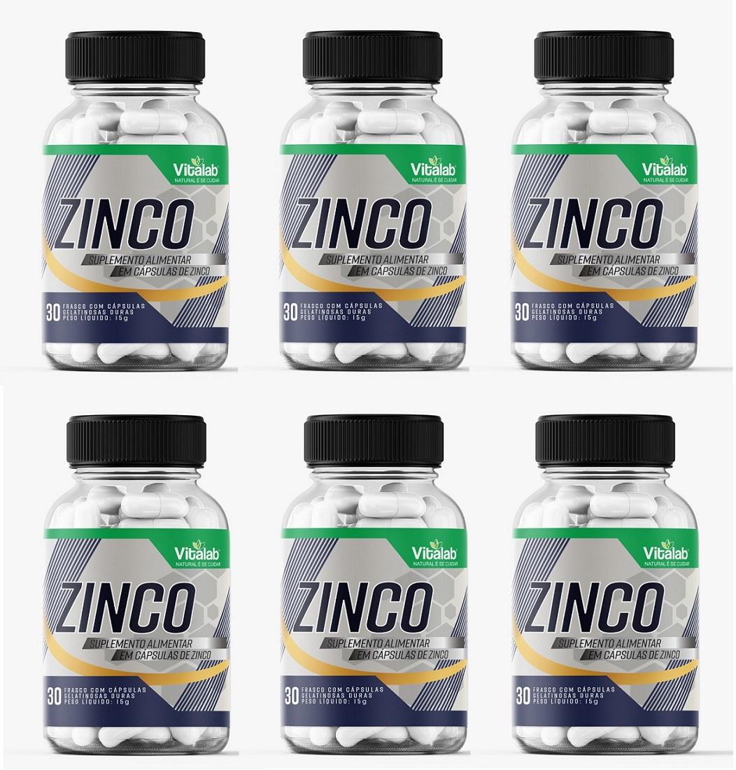 Zinco 500mg IDR 414% 30 Cap Aux Cabelo combate depressão 6un