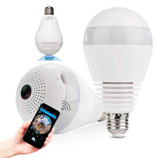 Lâmpada Espiã Câmera Ip Led Wifi Hd Panorâmica 360º Celular