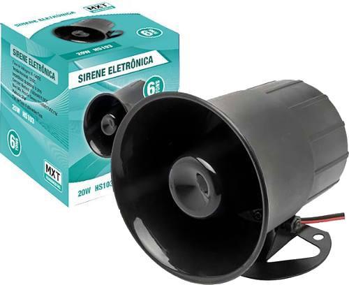 Sirene Eletrônica tipo corneta alta potência 6 tons