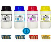 Kit 4 Refil Pó Toner + 4 Chip Xerox 6180