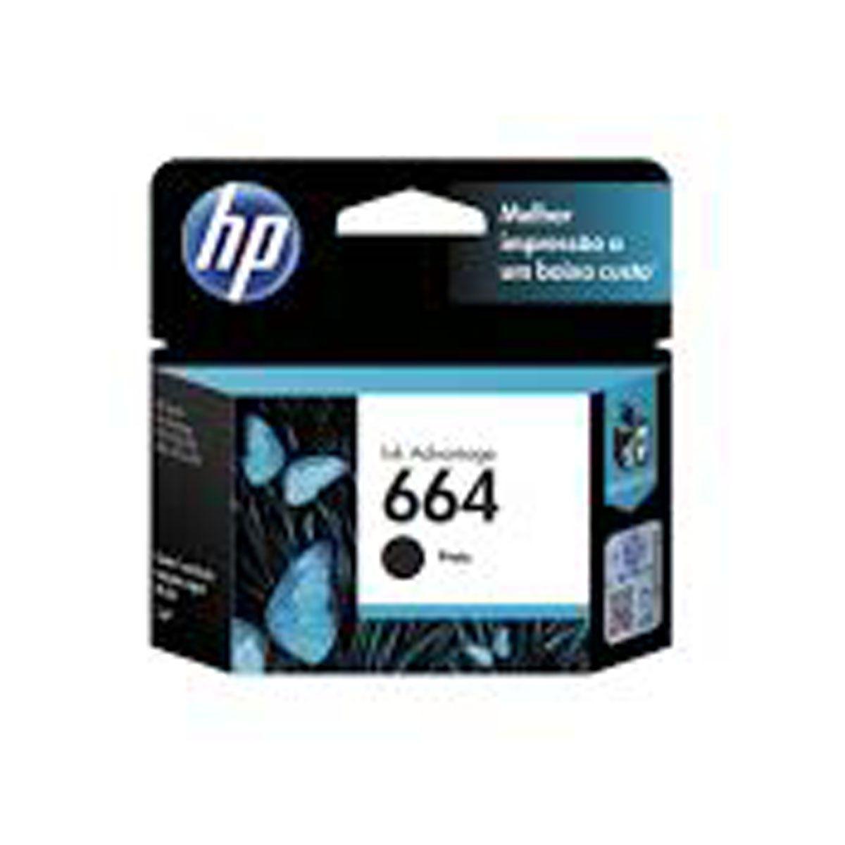 Cartucho HP 664 Preto F6V29AB - 2,0ML