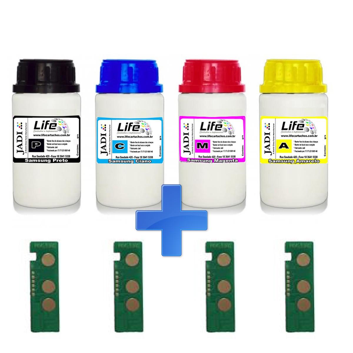 Kit 4 Refil Pó + 4 Chip Samsung K404 C404 M404 Y404 - C480W C480FW C430W C480 C430 C432
