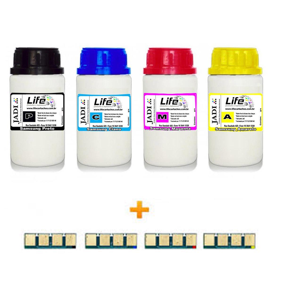 Kit 4 Refil Pó Toner + 4 Chip Samsung K406 C406 M406 Y406 - CLP365 C460W C460FW C410W