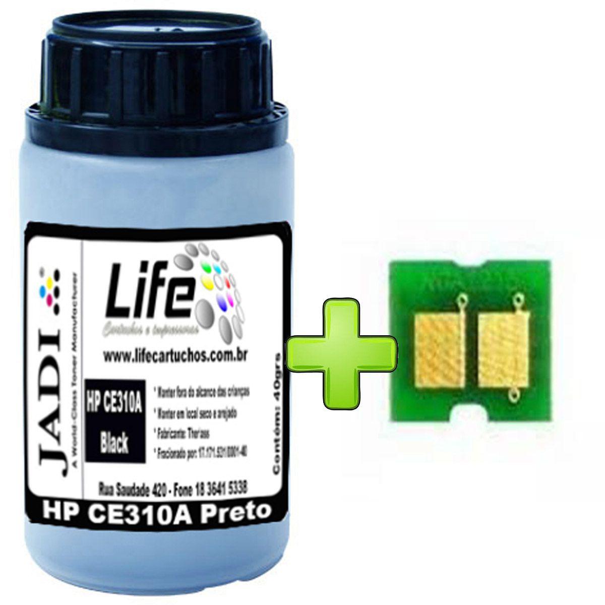 Refil Pó Toner 40G + Chip HP CE310A 310 126A - Jadi - Preto - CP1025 M175A