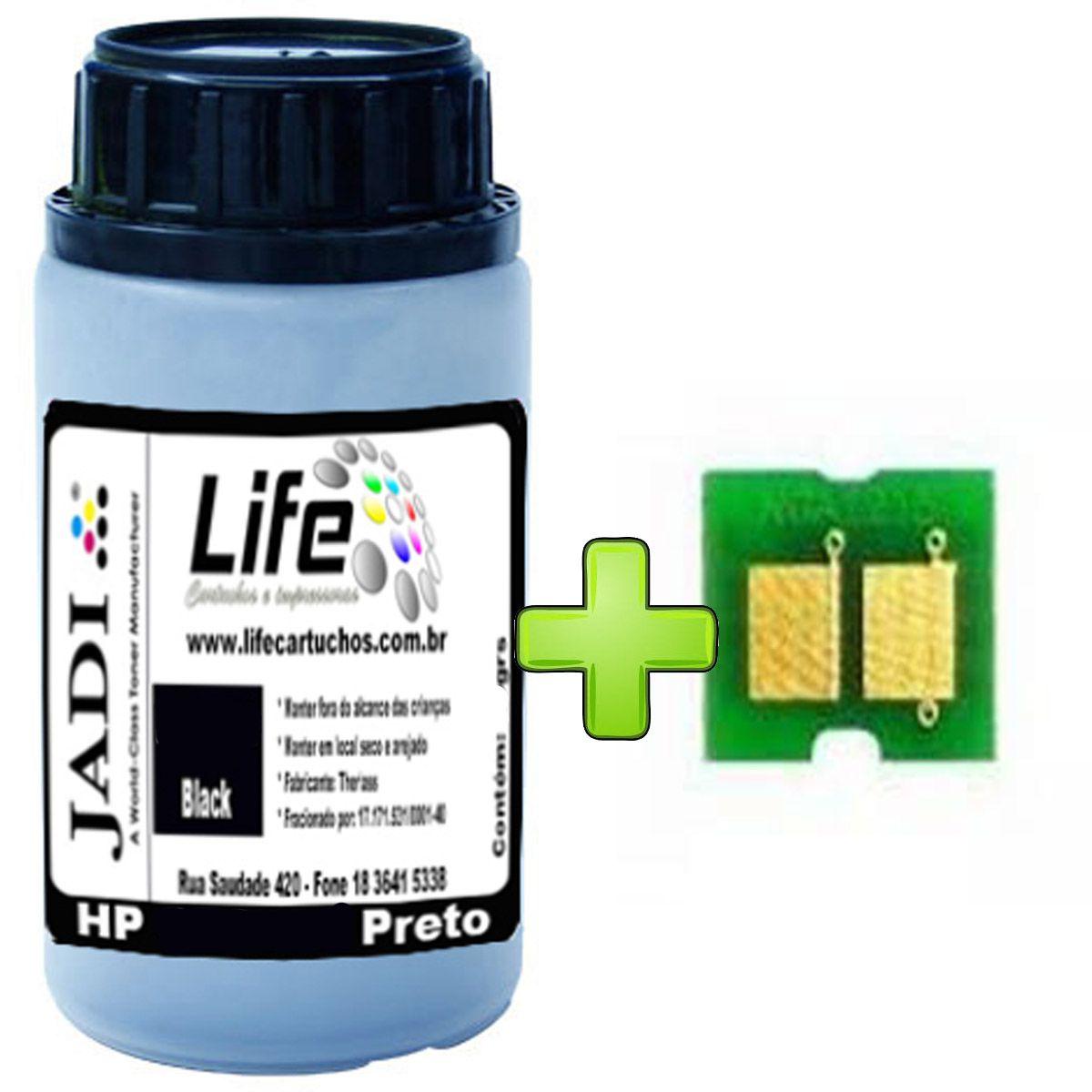Refil Pó Toner 50G + Chip HP CB540A 540 125A Preto - CP1215 CP1515 1215 1515 CM1312