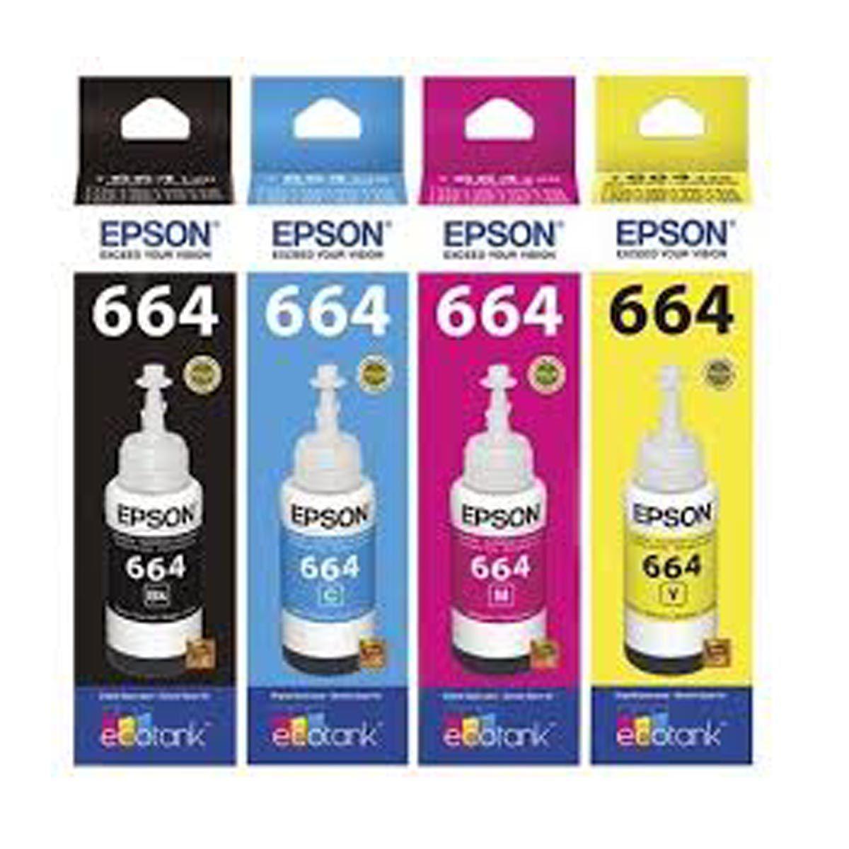 kit 4 Tinta Epson T664120 T664220 T664320 T664420 L3150 L395 L355 L555 L365 L455 L396 - Original 70m