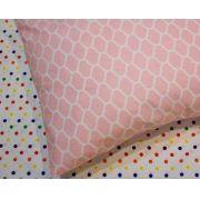 Fronha avulsa berço tamanho 30 x 40 cm  Colmeia Rosa